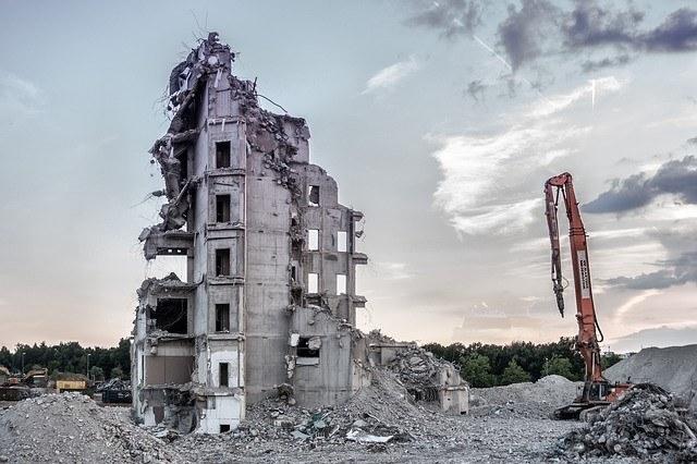 half demolished house